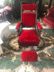 Pleasant Details About Antique Platform Rocking Chair Victorian Rocker Foot Rest Head Rest Horse Hair Gmtry Best Dining Table And Chair Ideas Images Gmtryco