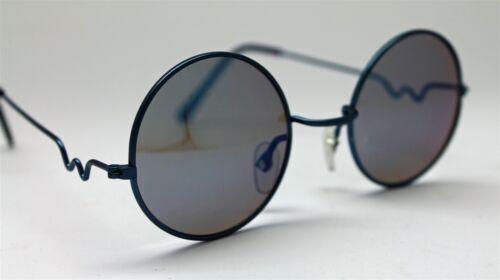 BLUE MIRROR ROUND SUN GLASSES BLUE FRAMES TRIGUN VAMPIRE COSPLAY STEAM PUNK