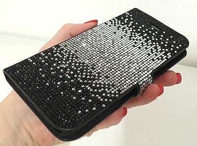4b40689b08 Galaxy S8 Wallet Case Made with Swarovski Crystals Faded Black Bling ...