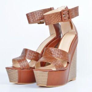 84a6c853b9 WOmen's Woven Gladiator Platform High wedge Clog heels Open Toe ...