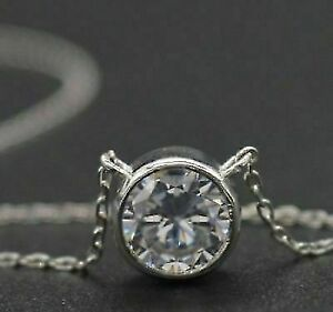 Antique-1-00-Ct-Bezel-Set-Solitaire-Round-Diamond-Pendant-14k-White-Gold-Finish