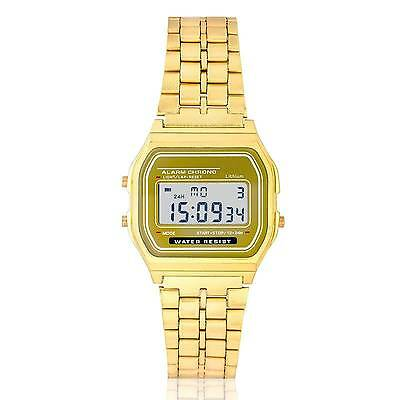 Retro Digitaluhr Armbanduhr Digital Herren Damen Uhr NEU Golden