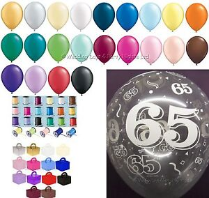 Image Is Loading 65th Birthday Party Helium Balloons Ribbons Weights 10