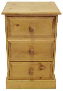 UK-Hand-Made-Solid-Pine-Bedroom-3-Drawer-Bedside-Cabinet-Large