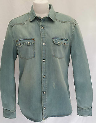 EX BURTON MENS 100% QUALITY WESTERN STYLE FITTED DENIM VINTAGE DISTRESS SHIRT