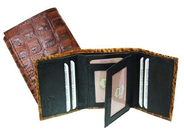 Brown Leather Men's Trifold Croc Print Wallet Credit Card ID Cowboy Style