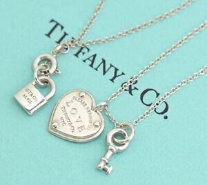 Volver A Tiffany Co Amor Corazon Clave Collar De Plata 17 925 Con Caja A11 Ebay