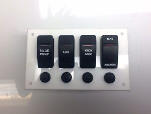 Details about Marine Grade Acrylic Panel with 4 Rocker switches, 4 Switch  Cover, 4 Push to
