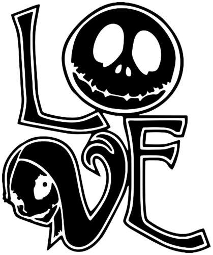Love Jack Skellington Nightmare Before Christmas Autocollant Vinyle Autocollant Voiture Ordinateur Portable