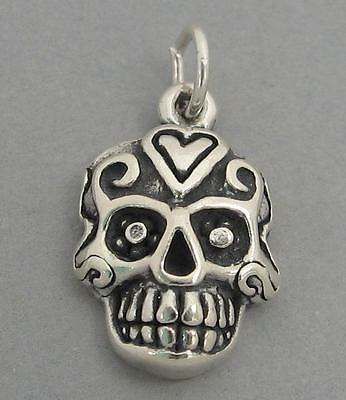 SUGAR SKULL Sterling Silver Charm Day of the Dead Halloween 4784
