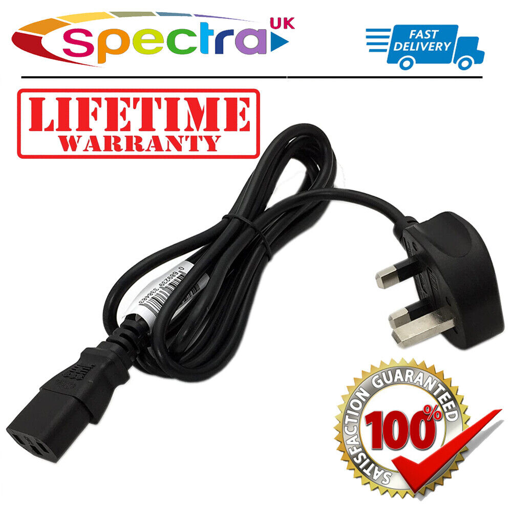 IEC Kettle Lead AC Power Cable 3 Pin UK 10A Plug Desktop PC TV Monitor C13 Cord