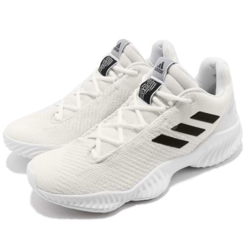 adidas Pro Bounce 2018 Low White Black Men Basketball Shoes Sneakers BB7410