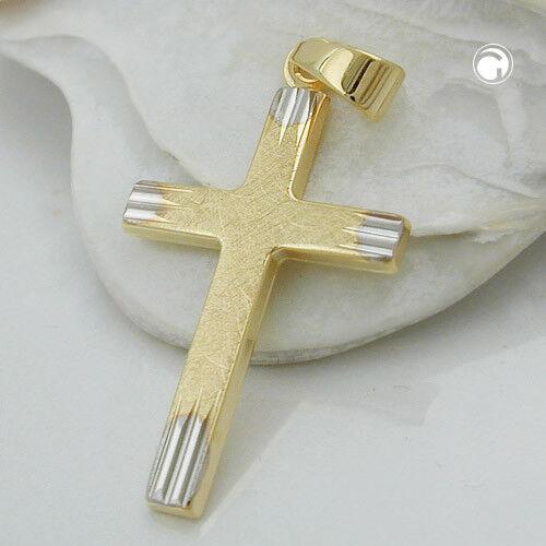 CIONDOLO CIONDOLO CIONDOLO Croce di 375 oro GIALLO 21x14mm KT opaco-lucido unisex f6c790