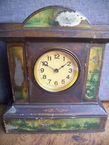 Antique Tinplate Mantel Clock with Transfer Printed Dutch Scenery (Wood 30 Hour)
