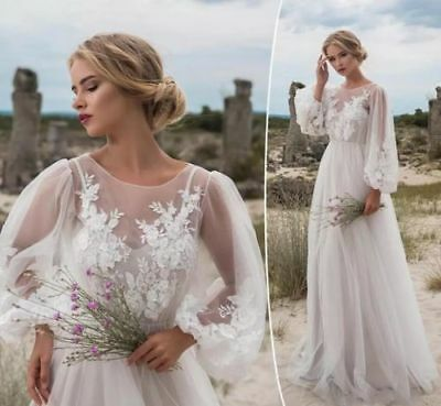 Bohemian Wedding Dress Long Sleeves Vintage Country Tulle Bridal Gown Illusion Ebay