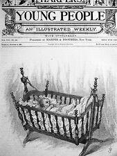 Jessie Shepherd BABY in OLD ROCKING CRIB 1887 Antique Print Matted