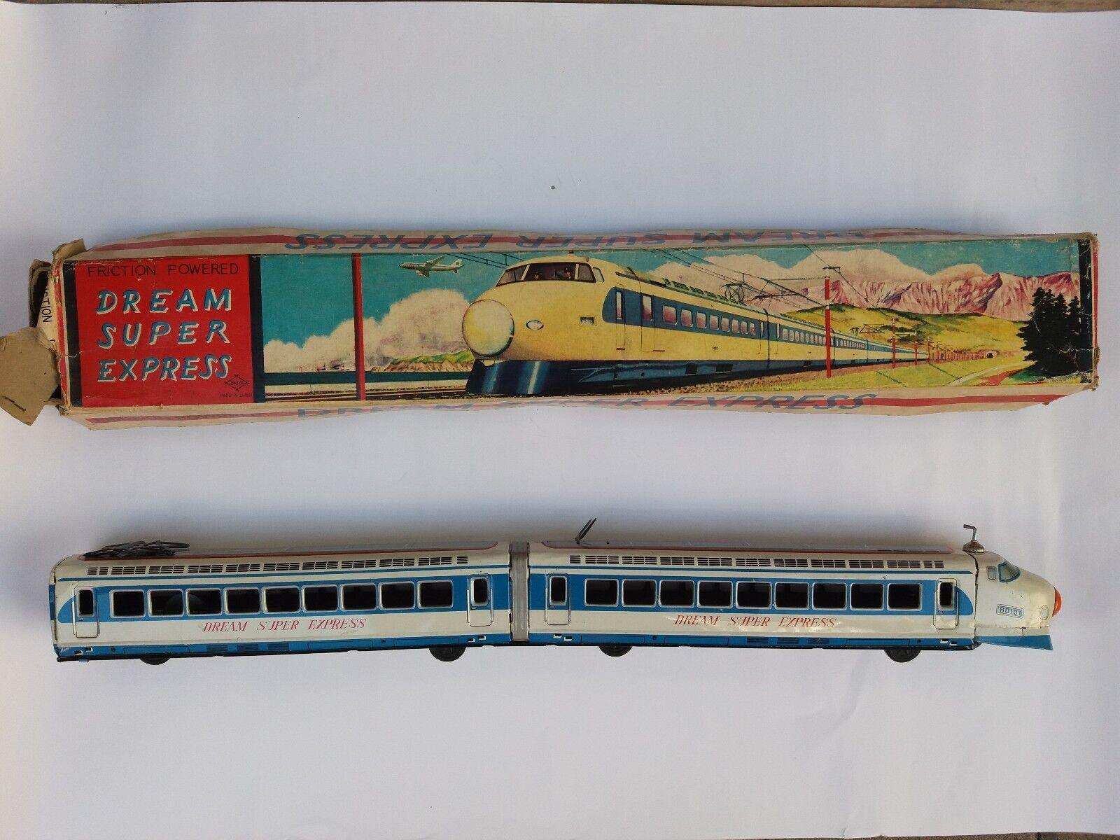 VINTAGE RARE JAPAN TIN TOY DAIYA DREAM SUPER EXPRESS FRICTION TRAIN + BOX