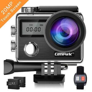 Campark X20 Action Cam 4K TouchScreen Sport Camera WIFI 20MP 170° Remote Control