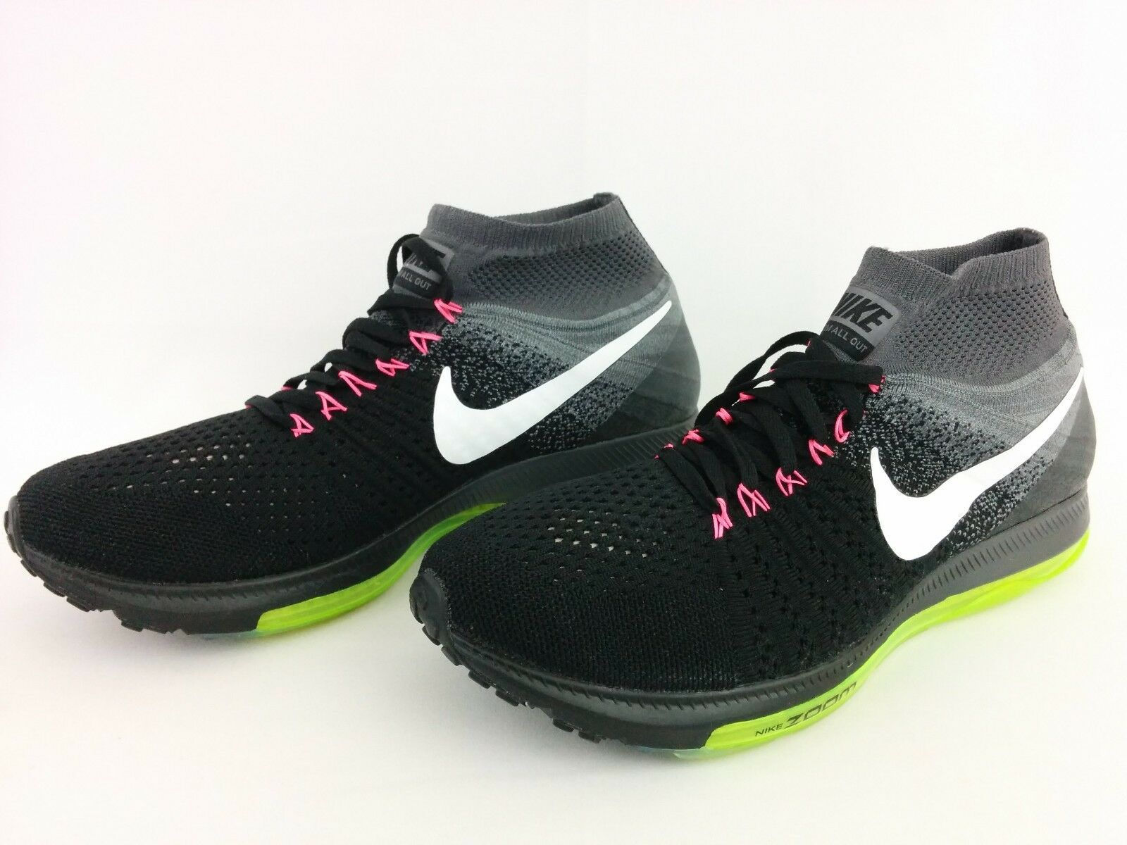 Nike Women's Zoom All Out Flyknit Running Shoes Air Max Black Grey 845361-002 12