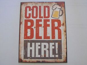 1-x-tin-sign-man-cave-cold-beer-here-hotel-bar-vintage-antique-art-dad-shed-new