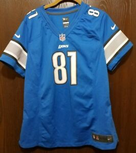 d4eb777f Details about Nike Blue Calvin Johnson Detroit Lions #81 Football Jersey  Youth XL 18-20
