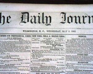 Rare-CONFEDERATE-Wilmington-NC-North-Carolina-CIVIL-WAR-Lincoln-1861-Newspaper