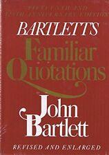 Bartlett's Familiar Quotations by John Bartlett (1980, Hardcover, Enlarged)