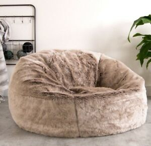 X Large Faux Fur Bean Bag Chair Luxury Adult Beanbag Seat Mink Brown