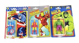"Lot Of 3 Marvel Legends Retro Kenner 3.75"" Figures Hulk Iron Man Captain America"