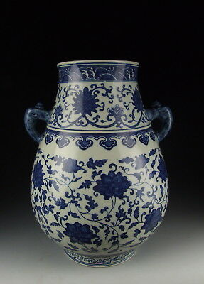 Chinese Antique Blue White Porcelain Zun Vase w Flower Pattern