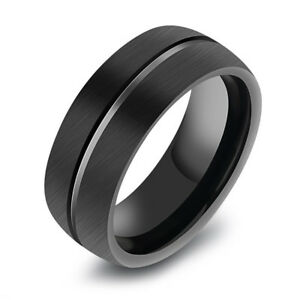 Taille 6-10 Homme Femme Bleu Sapphire Black Gold Filled Wedding Fashion Ring Cadeau