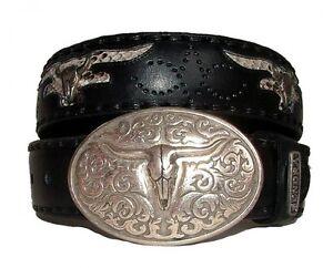NEUF-Sendra-ceinture-ceinture-en-cuir-python-MOTARDS-western-noir