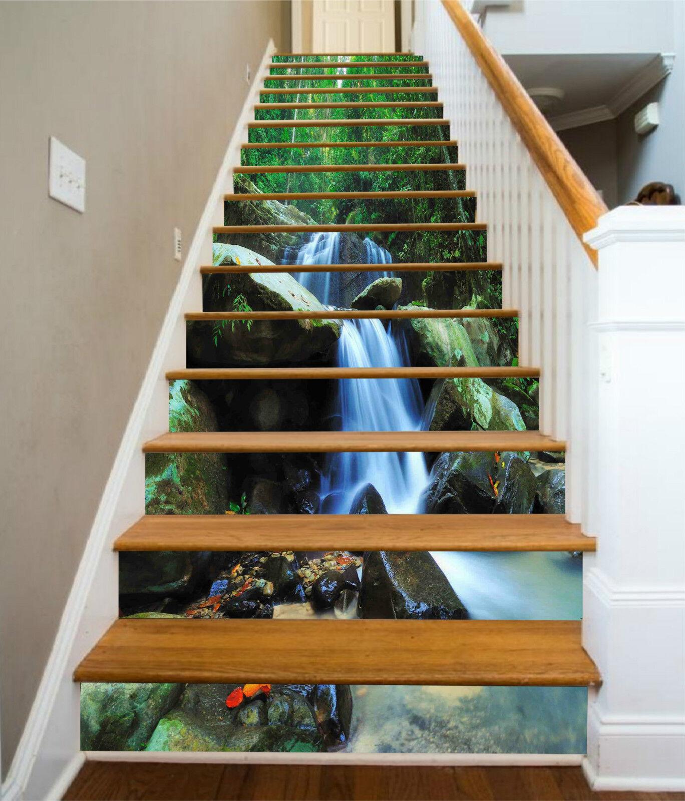 3D Wald Bach 325 Stair Risers Dekoration Fototapete Vinyl Aufkleber Tapete DE