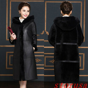Women-Fur-Coat-Jacket-real-Sheep-Leather-Long-Trench-Coat-Parka-Outwear-Size-25