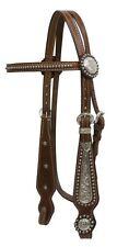 WESTERN SADDLE HORSE LEATHER W/ SILVER SHOW BRIDLE W/ SPLIT REINS MEDIUM BROWN