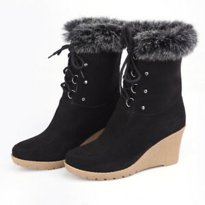 Women-Shoes-Mid-High-Wedge-Heel-Lace-Up-Fur-Trim-Ankle-Boots-Faux-Suede-Comfy-D