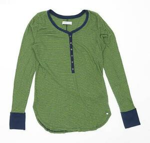 Abercrombie-amp-Fitch-Womens-Size-S-Striped-Cotton-Blend-Green-Henley-Top-Regular