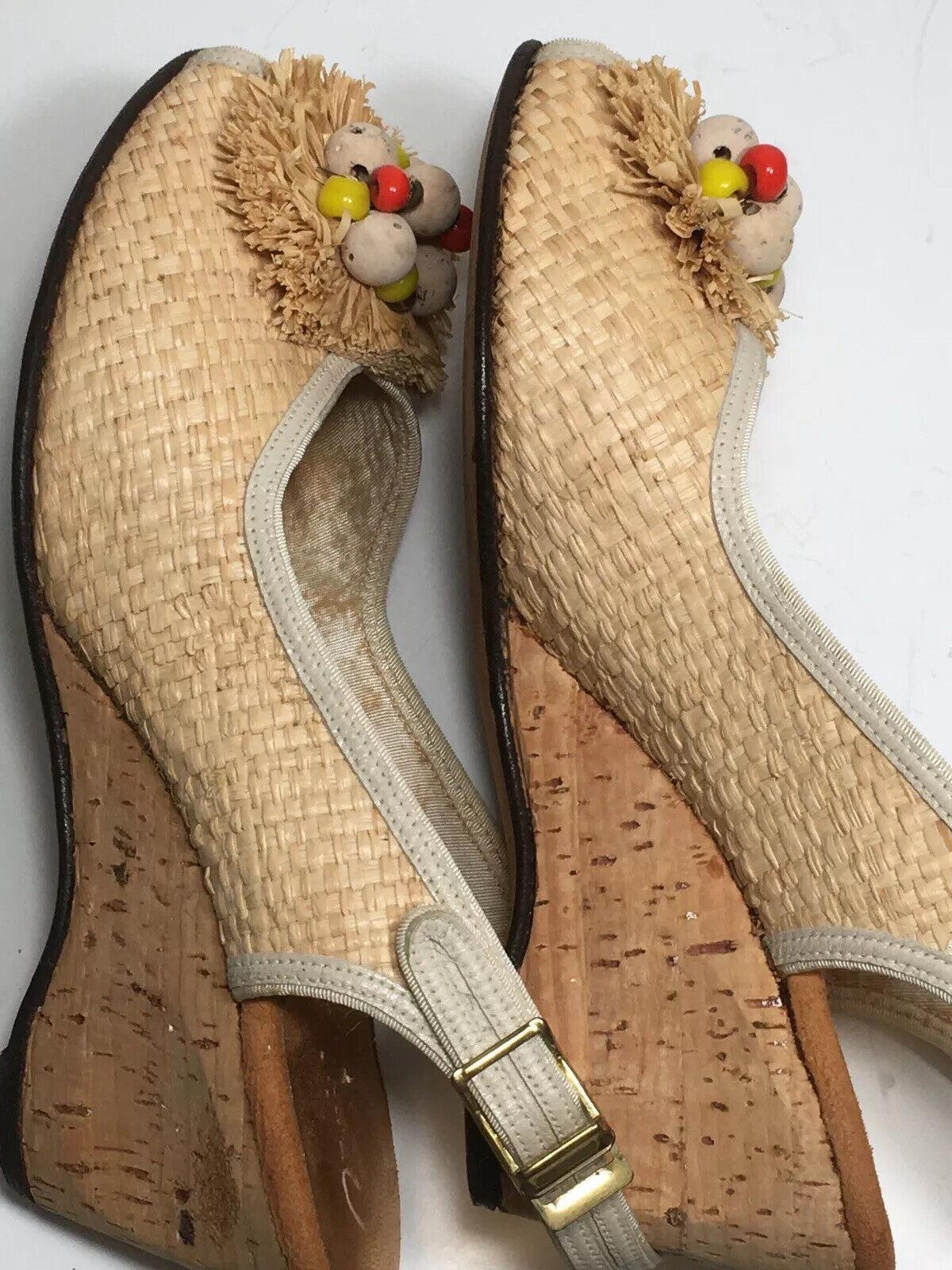 Vintage 40s Shoes Platform CORK Wedge Sandals Str… - image 3