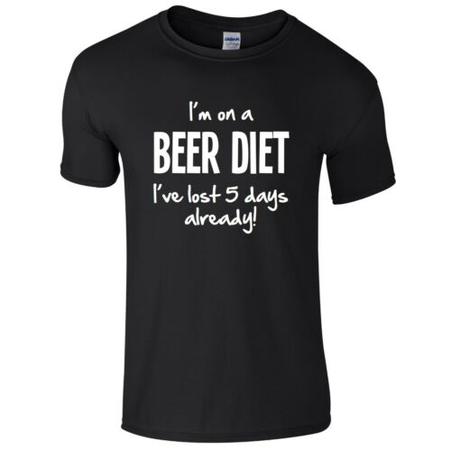 I/'M ON A BEER DIET Mens T-Shirt S-3XL Funny Printed Alcohol Joke Novelty Top