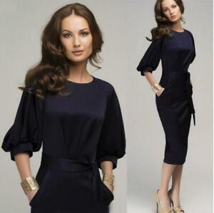 Premium-Women-Formal-Business-Work-Party-Sheath-Tunic-Pencil-Dress-Office-6L