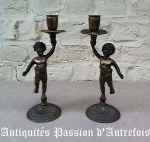 B20121113 - 2 Bougeoirs En Bronze Dans Leur Jus . A Nettoyer
