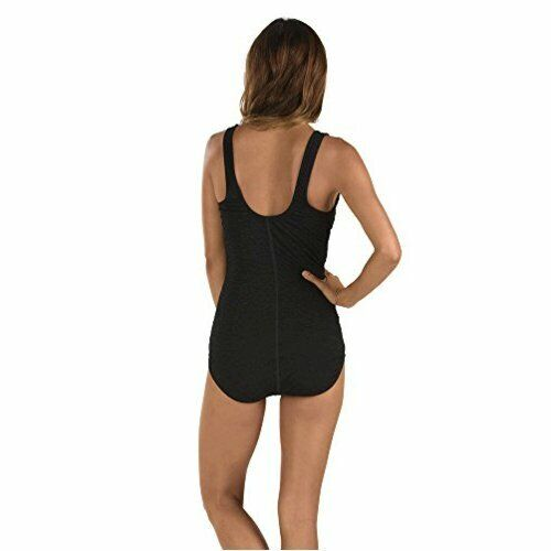 Speedo Women's Pebble Texture One Piece Swimsuit with, Speedo Black, Size 16.0 q