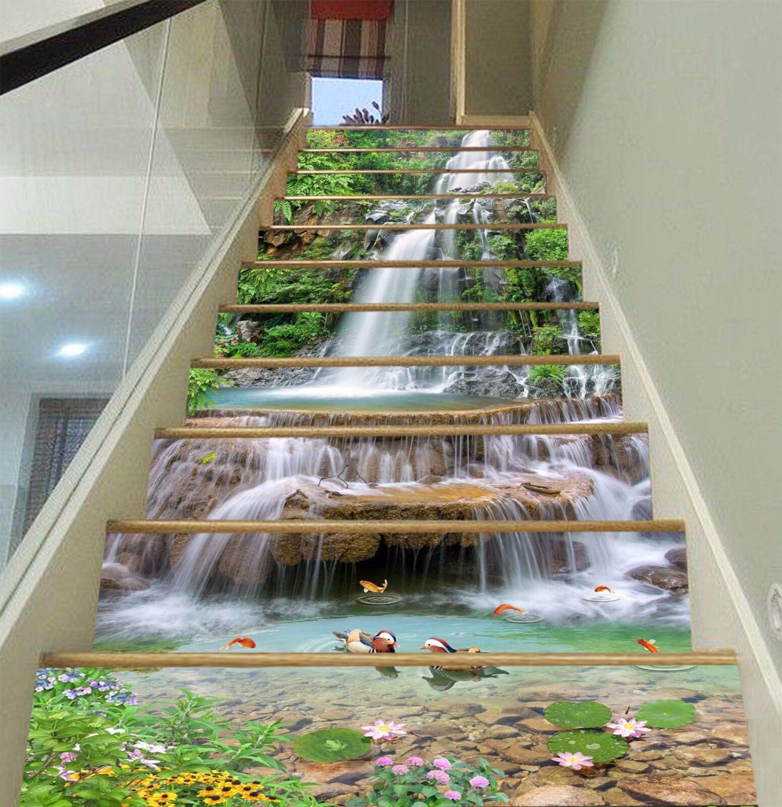 3D Waterfall Layer 375 Risers Decoration Photo Mural Vinyl Decal Wallpaper CA