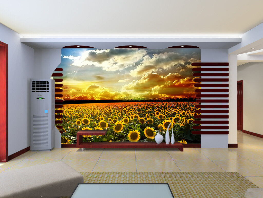 3D Dark Cloud Field Sunflower Wall Paper Wall Print Decal Wall AJ WALLPAPER CA