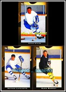 3x-STAR-PICS-HOCKEY-1990-MURRAY-64-LAFAYETTE-56-STAIOS-51-ROOKIE-CARDS-LOT