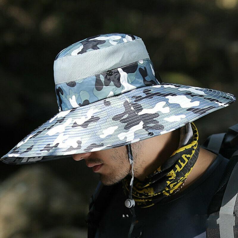 Breite Krempe Boonie Mütze Upf 50 + Netz Eimer Außen Kappe Taktische Tarnung