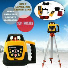 Self Leveling 360 Rotary Rotating Red Laser Level 500m Range Amp Tripod Staff