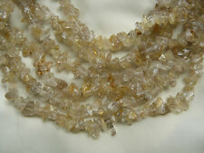 "Rutilated Quartz Chip Beads Natural Gemstone Clear w Gold Strands Rutile 34"""