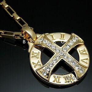 Solar Cross Roman Numeral Pendant Necklace 18k Gold