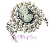Vintage Deco Bridal Silver Pearl Large Cameo Cuff Bracelet w/ Swarovski Crystals